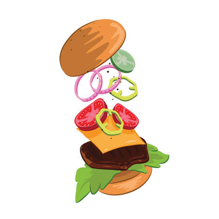 tossed cheeseburger Ilustrace
