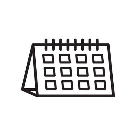 Black and white desk calender vector illustration