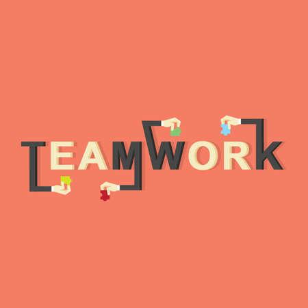 Teamwork lettering design Çizim