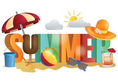 여름 레터링 디자인 스톡 콘텐츠 - 77416440