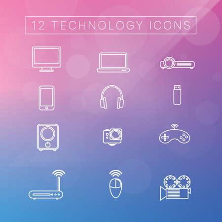 Technology icons vector illustration set
