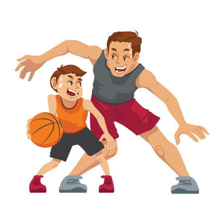 父の息子とバスケット ボールをプレー