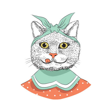 Cartoon cat vector illustration