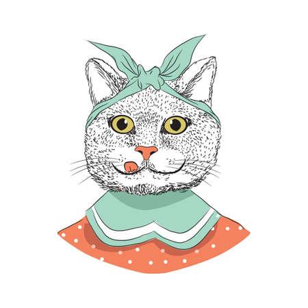 Cartoon kat vectorillustratie Stock Illustratie