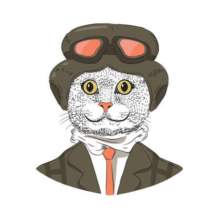 ゴーグル帽子漫画猫
