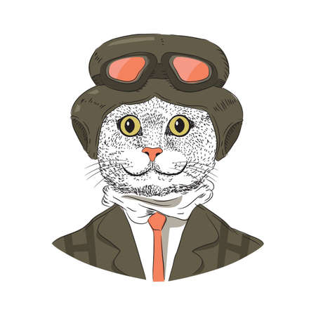 Cartoon cat with goggle hat