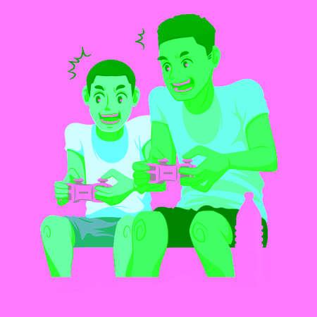 父親の息子と一緒にビデオゲームをプレイ  イラスト・ベクター素材