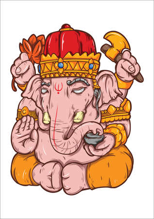Indian elephant god Ilustrace