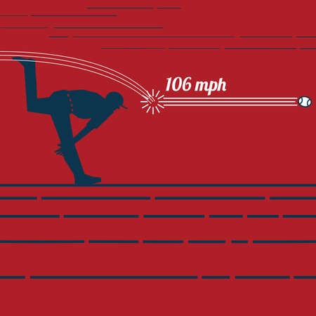 106 mph の速球  イラスト・ベクター素材
