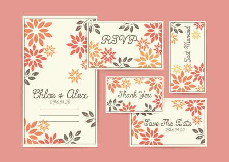 Wedding invitational card design. Ilustrace