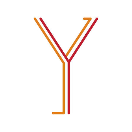 uppercase: Letter Y in orange and red thin lines.
