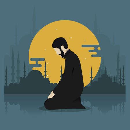 Man kneeling for prayer Ilustrace
