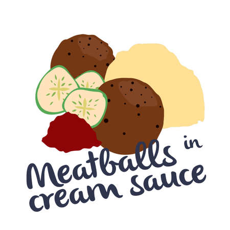 Meatballs in cream sauce Ilustração