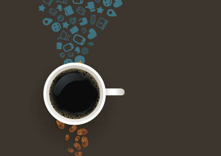 Flatlay of coffee with social media icons Illustration