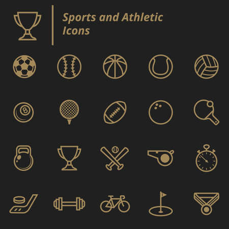 aantal sporten en atletische pictogrammen Stock Illustratie