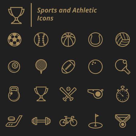 set of sports and athletic icons Ilustração