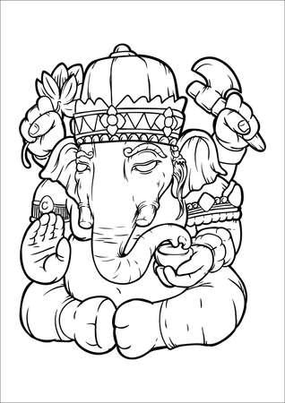 Indian elephant god Çizim