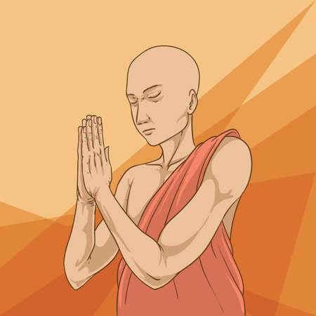 Monk praying Vettoriali