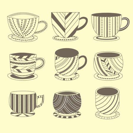 パターンとカップのセット  イラスト・ベクター素材