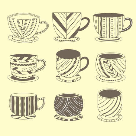 Set of cups with patterns