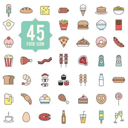 Set van voedsel pictogrammen