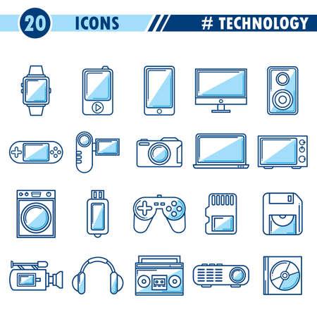 Ensemble d'icônes de la technologie. Banque d'images - 77161573