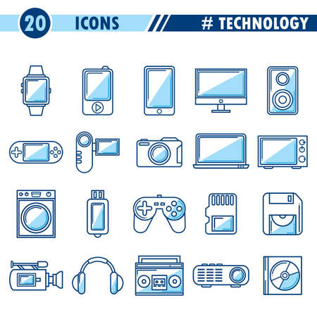 pendrive: Set of technology icons.