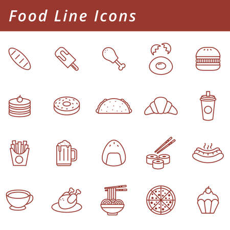 Collection of food line icons Illustration