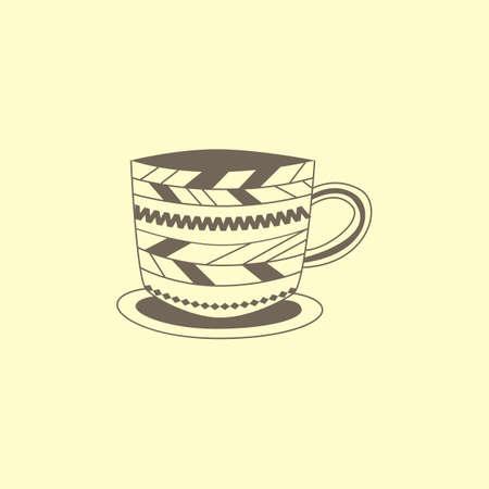 パターンとカップ  イラスト・ベクター素材