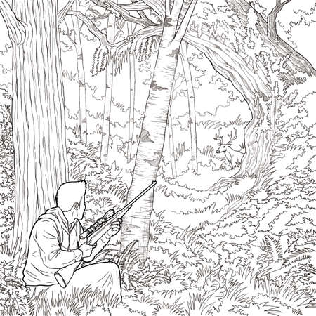 Man hunting in the forest Ilustrace