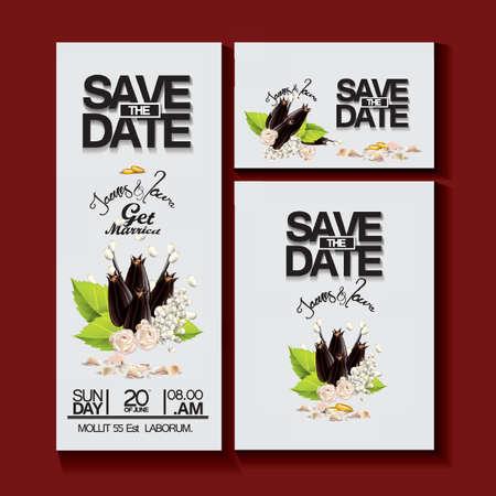 結婚式の招待カードのデザイン  イラスト・ベクター素材