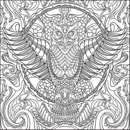 Intricate owl design on black and white colors.