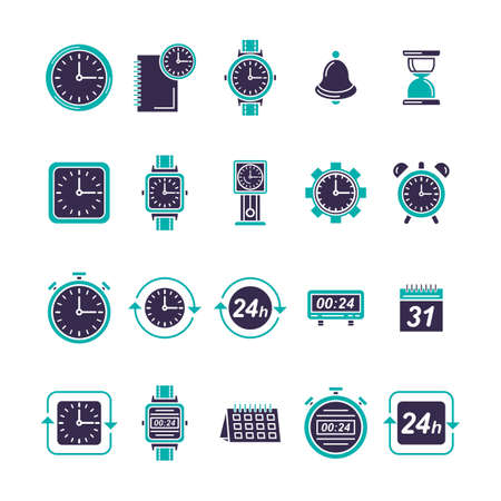 Collection of watch icons on white color.