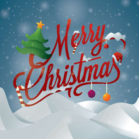 merry christmas lettering design Иллюстрация