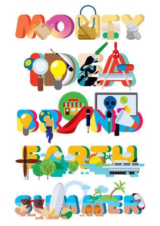 set of lettering design icons Çizim