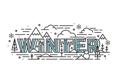 Winter lettering design Çizim