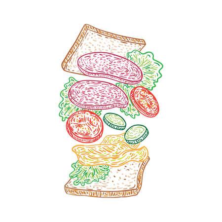 Gesmolten salami sandwich