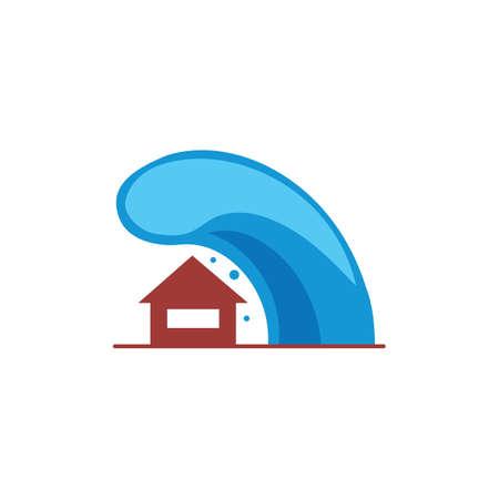 House with tsunami concept