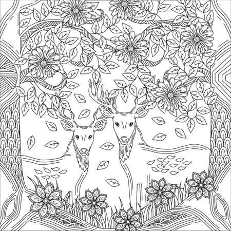 intricate deer design Ilustração