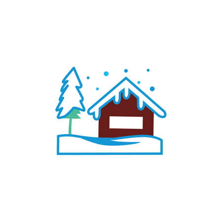 house covered in snow Illustration