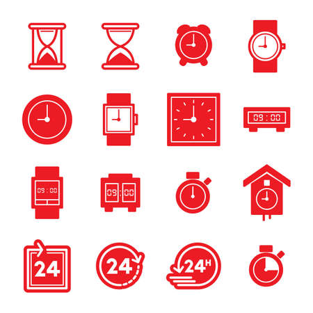 set of time concept icons Illustration