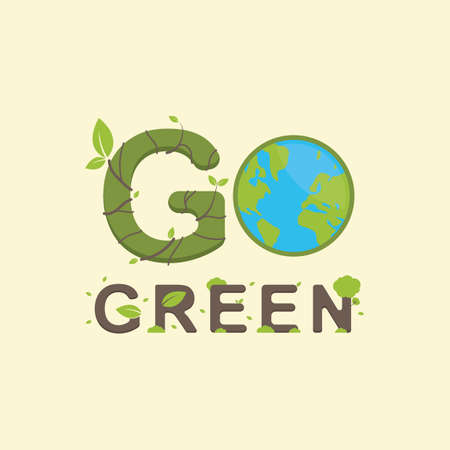 go green lettering design
