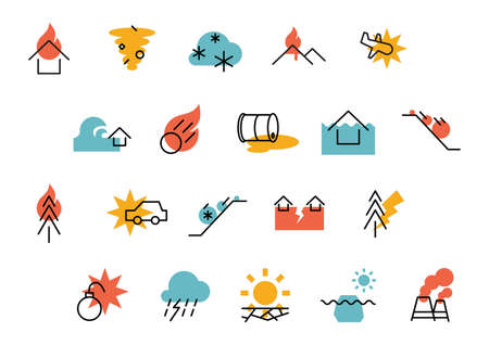 Collection of disaster icons Stock Vector - 77501211