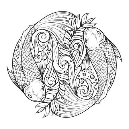 Fish swimming design, abstract.