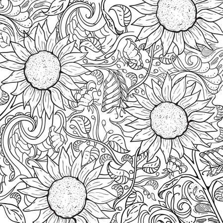 Komplizierter Sonnenblumenentwurf Standard-Bild - 77501399