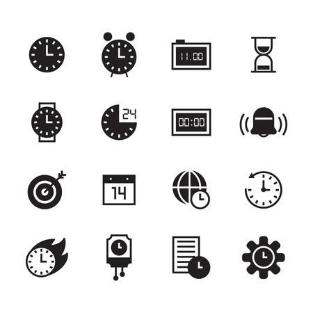 時間概念のアイコンのセット  イラスト・ベクター素材