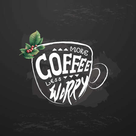 worry: more coffee less worry Illustration
