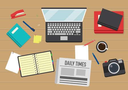 editorial workspace design Illustration