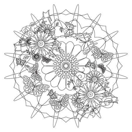 intricate floral design Illustration