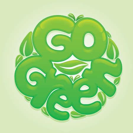 Go green lettering design Çizim